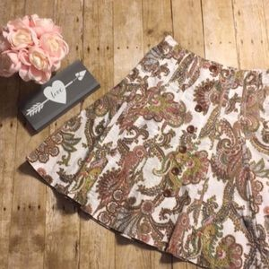 CAbi Paisley Skirt with Buttons #861- Size 4